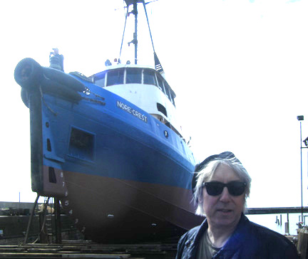 Mark Bandola and the Nore Crest on the slipway at Ramsgate Harbour